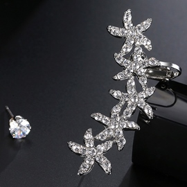 Ericdress Asymmetric Diamante Stars Design Ear Clip & Stud Earring