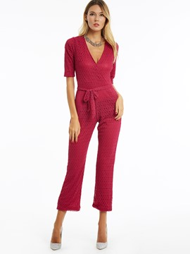 Ericdress Wide Legs Lace-Up Slim Jumpsuits Pants
