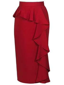 Ericdress Ruffles Plain Women's Skirt