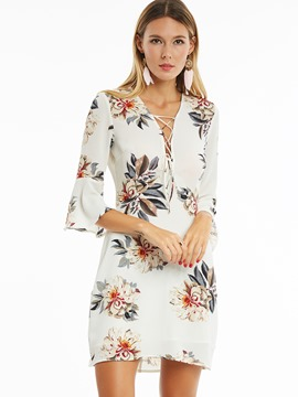 Ericdress Floral V-Neck Bell Sleeve Bodycon Dress