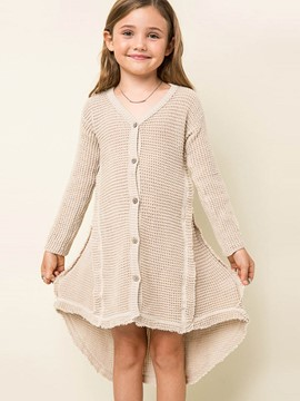 Ericdress Low-High Single-Breasted Girls Cardigan