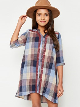 Ericdress Patchwork Plaid V-Neck 3/4 Length Sleeves Dress