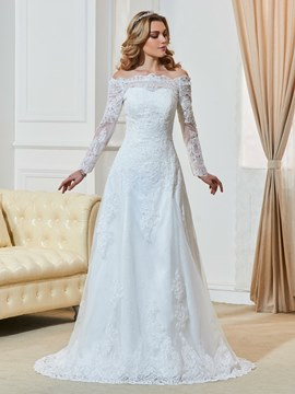 Ericdress Elegant Off The Shoulder A Line Appliques Long Sleeves Wedding Dress