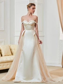 Ericdress Off The Shoulder Sheath Color Wedding Dress