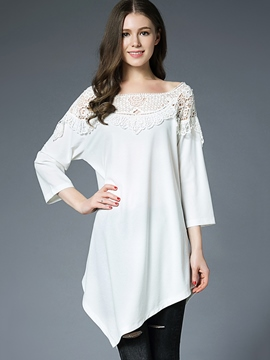 Ericdress Asymmetric Slash Neck Hollow T-shirt
