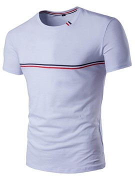 Ericdress Chest Stripe Short Sleeve Men's T-Shirt