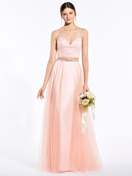 Ericdress Popular Halter Two Pieces A Line Long Bridesmaid Dress