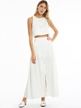 Ericdress Round Neck Sleeveless White Women's Pants Suit