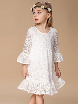 Ericdress Fall Lace Ruffles Flare Sleeve Dress
