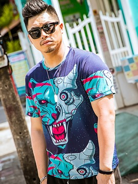 Ericdress Short Sleeve Plus Size Unique Print Men's T-Shirt