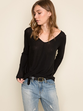 Ericdress Casual Black V-Neck T-Shirt