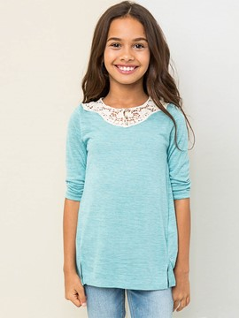 Ericdress Low-High Lace Mid-Length Girls T-Shirt