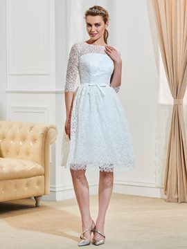 Ericdress Sweet Bateau Half Sleeves A Line Knee Length Lace Wedding Dress