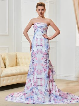 Ericdress Strapless Mermaid Printed Wedding Dress