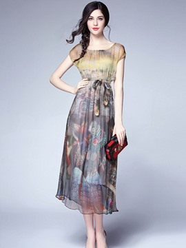 Ericdress Floral Print Short Sleeve Bowknot Maxi Dress