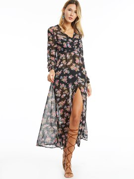 Ericdress Floral Print Split Maxi Dress