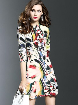 Ericdress Print Falbala 3/4 Sleeve A Line Dress