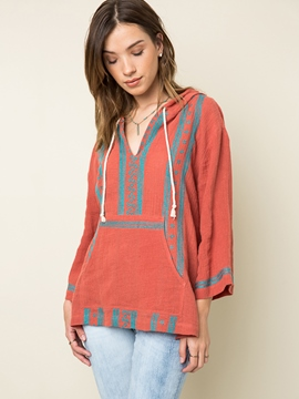 Ericdress Casual Geometric Pattern Hooded Blouse