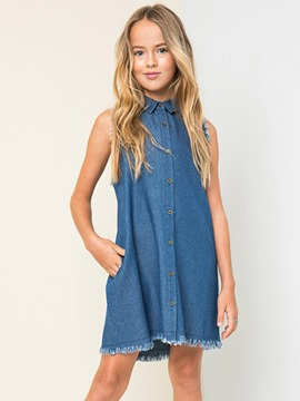 Ericdress Denim Rough Selvage Girl's Dress