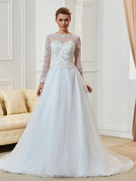 Ericdress Jewel Neckline A Line Long Sleeves Wedding Dress