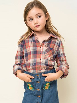 Ericdress Spring Plaid Patchwork Lapel Girls Shirt