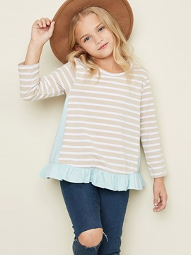 Ericdress Stripe Ruffles Scoop Cotton Girls Shirt