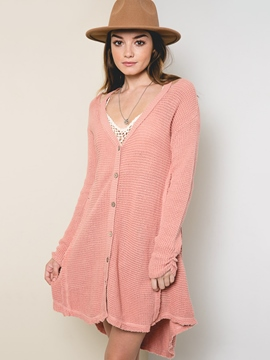 Ericdress Loose Button Plain Knitwear