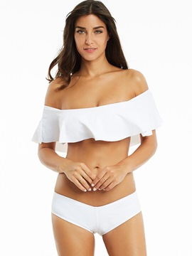 Ericdress Plain Off The Shoulder Falbala Bikini Set