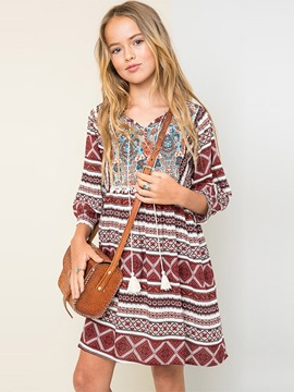 Ericdress Spring Vintage Print Tassel 3/4 Length Sleeves Dress