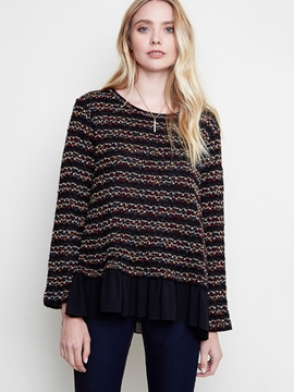 Ericdress Patchwork Stripe Pullover Knitwear