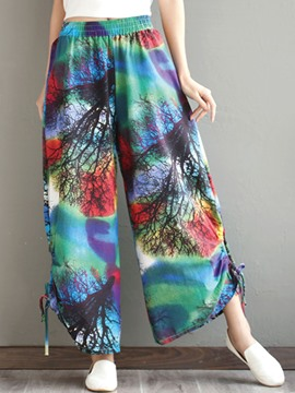 Ericdress High Waisted Flower Print Wide Leg Women's Pants