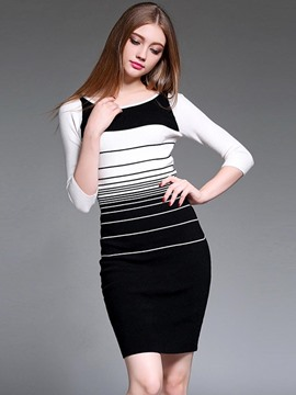 Ericdress Strip Color Block Round Collar Sweater Dress