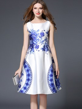 Ericdress Pleated Floral Scoop Short Sleeve A Line Dress