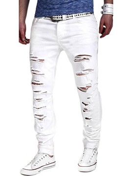 Ericdress White Holes Slim Casual Men's Pants