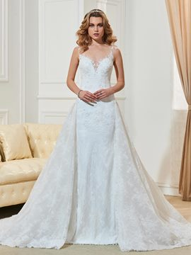 Amazing V Neck A Line Lace Wedding Dress