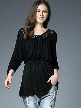 Ericdress Ladylike Hollow Nine Points Sleeve Tunic T-shirt
