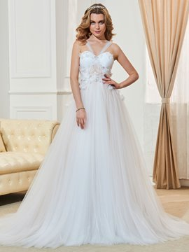 Ericdress Straps A Line Appliques Tulle Wedding Dress