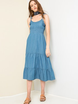 Ericdress Spaghetti Strap Tassel Patchwork Maxi Dress