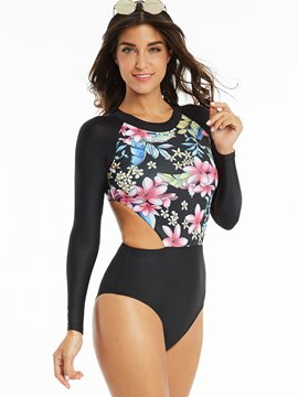 Ericdress Long Sleeve Flower Print Hollow Monokini