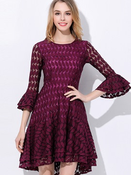 Ericdress Ruffle Sleeve Hollow Solid Color A Line Dress