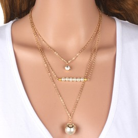 Ericdress Three Layers Imitation Pearl & Crystal Pendant Necklace