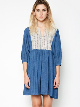 Ericdress Bohemian V-Neck Embroidery Patchwork Casual Dress