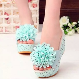 Ericdress Charming Big Flower Wedge Mules Shoes