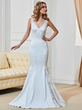 Charming V Neck Court Train Lace Mermaid Wedding Dress