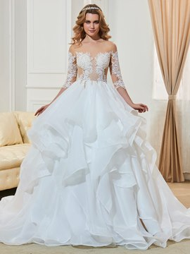 Ericdress Fancy Illusion Neckline Half Sleeves Ball Gown Wedding Dress