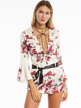 Ericdress Bell Sleeve Flower Print Women's Rompers