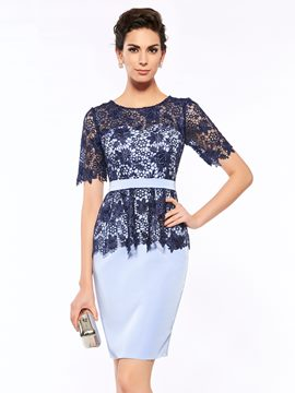Ericdress Elegant Scoop Short Sleeves Sheath Knee Length Mother Of The Bride Dress