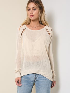 Ericdress Plain Hollow Lace Knitwear