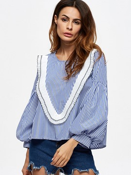 Ericdress Stripped Loose Patchwork Blouse