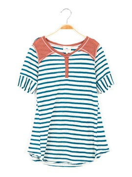 Ericdress Stripe Patchwork Button Mid-Length Girls T-Shirt